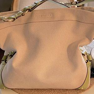 Super clean COACH canvas bag! Lime and cream